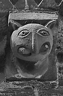 The Stone Bestiary - Black and white photo art print of Norman Romanesque exterior corbel no 29  -  sculpture of.a creature with a rounded head, pointed ears and a beaked nose. In its huge mouth it is biting on a rod . The Norman Romanesque Church of St Mary and St David, Kilpeck Herefordshire, England. Built around 1140 .<br /> <br /> Visit our LANDSCAPE PHOTO ART PRINT COLLECTIONS for more wall art photos to browse https://funkystock.photoshelter.com/gallery-collection/Places-Landscape-Photo-art-Prints-by-Photographer-Paul-Williams/C00001WetsxVxNTo .<br /> <br /> By Photographer Paul E Williams