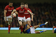 George North of Wales breaks past a tackle from Italy's Marcello Violi . Wales v Italy , NatWest 6 nations 2018 championship match at the Principality Stadium in Cardiff , South Wales on Sunday 11th March 2018. pic by Andrew Orchard, Andrew Orchard sports photography