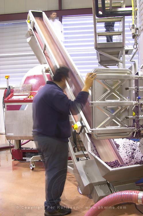 Emptying the grape skins and pips from the tank. Herdade das Servas, Estremoz, Alentejo, Portugal