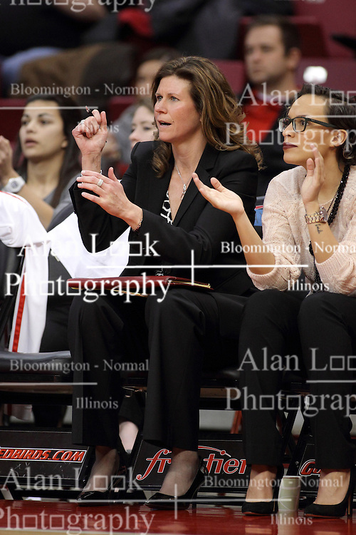 30 January 2015:  Lisa Hayden and Erin Dickerson during an NCAA women's basketball game between the Bradley Braves and the Illinois Sate Redbirds at Redbird Arena in Normal IL