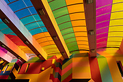 Colourful new modern designed roof over the shopping area on Hertford Street in the UK City of Culture 2021 on 23rd June 2021 in Coventry, United Kingdom. The UK City of Culture is a designation given to a city in the United Kingdom for a period of one year. The aim of the initiative, which is administered by the Department for Digital, Culture, Media and Sport. Coventry is a city which is under a large scale and current regeneration.
