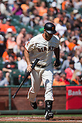 San Francisco Giants starting pitcher Madison Bumgarner (40) makes contact with a pitch during a game against the San Diego Padres at AT&T Park in San Francisco, Calif., on September 14, 2016. (Stan Olszewski/Special to S.F. Examiner)