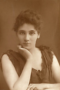 'Elisabeth Rrobins (1862-1952) American-born actress, playwright, novelist and suffragette, pictured c1894. She played the tile role in Ibsen's ''Hedda Gabler''  in London and, in 1893,  Hilda Wangel in his ''Master Builder''.'