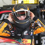 Sprint Cup Series driver Austin Dillon (3) puts on his helmet during the 57th Annual NASCAR Coke Zero 400 practice session at Daytona International Speedway on Friday, July 3, 2015 in Daytona Beach, Florida.  (AP Photo/Alex Menendez)