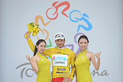 September 9, 2016 - Fengning, China - Italian Marco Benfatto from Androni-Giocattoli Team with a Yellow Leader Jersey, after he wins the second stage, 157.8 km Weichang-Fengning, of the 2016 Tour of China 1..The second stage of the Tour of China starts in Yudaokou, in Weichang county, located at the far northeastern Hebei province. The area has been historically home to Manchu soldiers. .The stage finishes in Fengning county, in front of Great Khan palace on north grassland of the country..On Saturday, 9 September 2016, in Fengning, China. (Credit Image: © Artur Widak/NurPhoto via ZUMA Press)