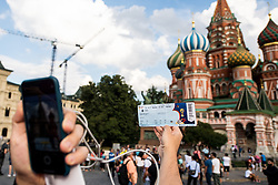 July 13, 2018 - Moscow, Russia - 180713 A ticket for the final match between France and Croatia in front of The Saint Basil's Cathedral at the Red Square during the FIFA World Cup on July 13, 2018 in Moscow..Photo: Petter Arvidson / BILDBYRN / kod PA / 92086 (Credit Image: © Petter Arvidson/Bildbyran via ZUMA Press)