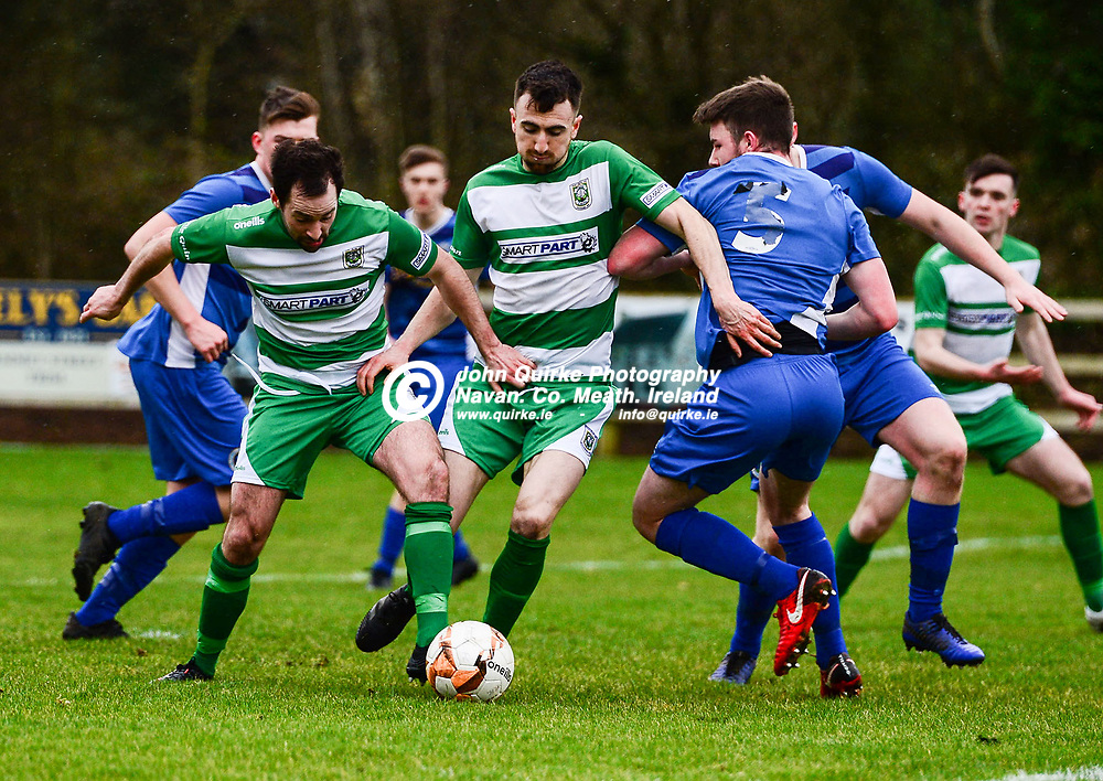 Trim Celtic's Brian Faulkner and Colm Carney scramble for the ball inside the crowded penalty area    in the Trim Celtic v Bluebell Utd, Leinster Junior Cup match in Trim.<br /> <br /> Photo: GERRY SHANAHAN-WWW.QUIRKE.IE<br /> <br /> 08-02-2020