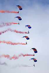 June 24, 2017 - Scarborough, Yorkshire, UK - Scarborough UK. The RAF Falcons Parachute team arrive in Scarborough to celebrate Armed Forces Day. (Credit Image: © Andrew Mccaren/London News Pictures via ZUMA Wire)