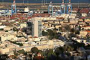 Israel, Haifa. View of Haifa port, Haifa bay and downtown. ..