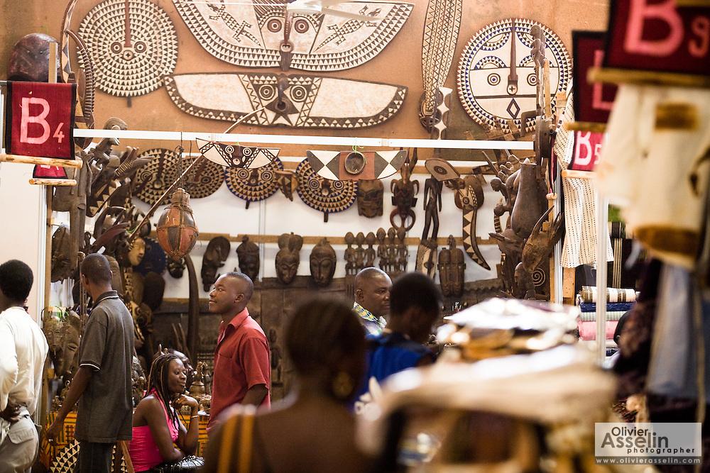 Masks and wood carvings for sale at the 22nd Salon International de l'Artisanat de Ouagadougou (SIAO) in Ouagadougou, Burkina Faso on Saturday November 1, 2008.