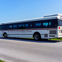 Gettysburg, PA, USA - September 6, 2020: A Gettysburg Battlefield Tour bus is parked near the Pennsylvania Memorial inthe Gettysburg National Military Park.