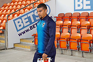 Wimbledon forward Kwesi Appiah (9) arrives during the EFL Sky Bet League 1 match between Blackpool and AFC Wimbledon at Bloomfield Road, Blackpool, England on 20 October 2018.