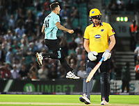 Cricket - 2017 Natwest T20 Blast - Quarter-Final: Surrey vs. Birmingham Bears<br /> <br /> Jade Dembach of Surrey celebrates his wicket of Dominic Sibley at The Oval.<br /> <br /> COLORSPORT/ANDREW COWIE