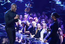 Stormzy and Jorja Smith performing at the Brit Awards 2018 Nominations event held at ITV Studios on Southbank, London.