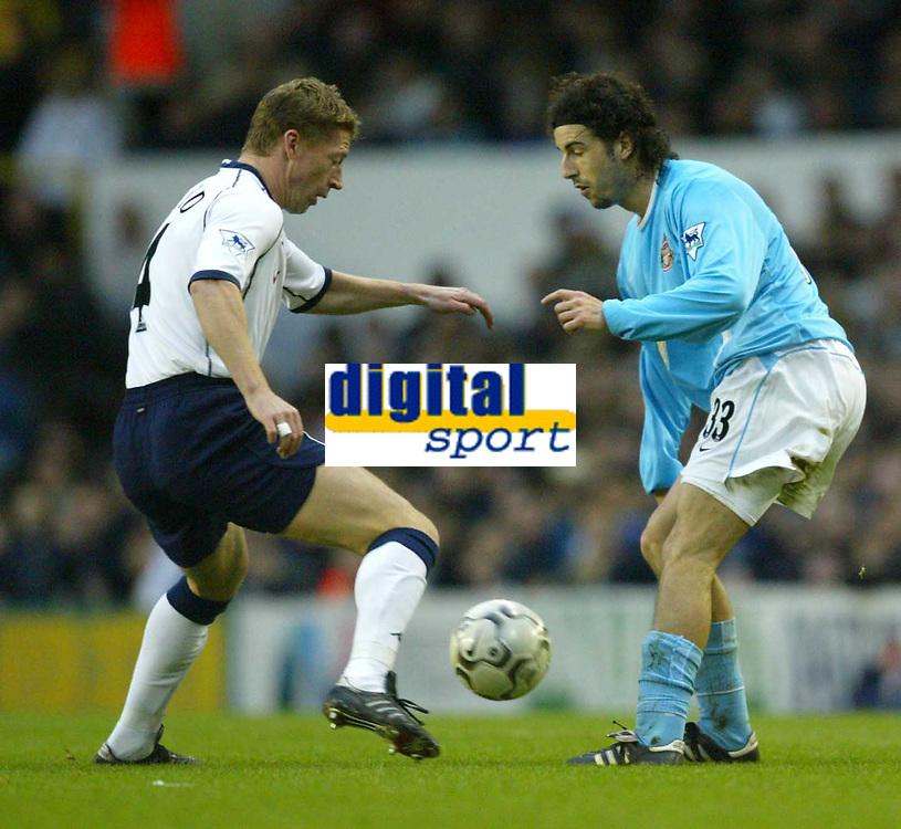 Photo. Aidan Ellis<br />Tottenham Hotspur v Sunderland . Barclaycard Premiership. 08/02/2003<br />Spurs Steffen Freund returns to action at white hart lane with sunderland's Julio Arca