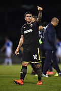 Cody McDonald (10) of AFC Wimbledon gives the thumbs up to the travelling fans at full time after AFC Wimbledon beat Bristol Rovers 3-1 during the EFL Sky Bet League 1 match between Bristol Rovers and AFC Wimbledon at the Memorial Stadium, Bristol, England on 18 November 2017. Photo by Graham Hunt.