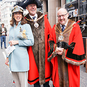 Lord Mayor Alderman William Russell and Lady Mayoress attended the annually Sheep Drive over the River Thames 2021 at Southwark bridge, London, UK. on 25th September 2021.