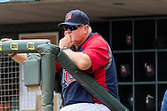 Ron Gardenhire (35) of the Minnesota Twins looks on during a game against the Detroit Tigers on August 15, 2012 at Target Field in Minneapolis, Minnesota.  The Tigers defeated the Twins 5 to 1.  Photo: Ben Krause