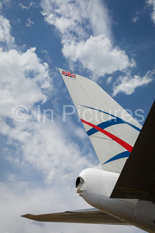 The tail of a British Cargologic 747 at the Farnborough Airshow, on 16th July 2018, in Farnborough, England. Launched in 2015, CargoLogicAir is the United Kingdom's only maindeck freighter airline. Headquartered close to London Heathrow Airport and with our main operating base at London Stansted Airport, we connect British companies with prime export markets in Europe, North America, the Middle East and Asia Pacific. CargoLogicAir's growing fleet of modern Boeing 747 freighters includes the new generation 747-8F with its increased payload of 139 tonnes.