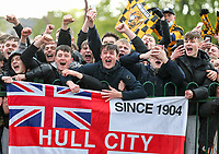 Hull City fans celebrate outside the stadium<br /> <br /> Photographer Alex Dodd/CameraSport<br /> <br /> The EFL Sky Bet League One - Hull City v Wigan Athletic - Saturday 1st May 2021 - KCOM Stadium - Kingston upon Hull<br /> <br /> World Copyright © 2021 CameraSport. All rights reserved. 43 Linden Ave. Countesthorpe. Leicester. England. LE8 5PG - Tel: +44 (0) 116 277 4147 - admin@camerasport.com - www.camerasport.com