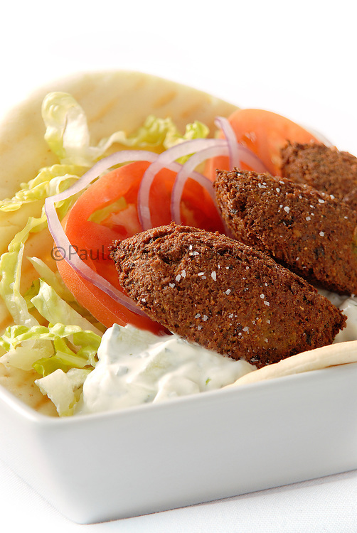 Healthy version middle eastern falafel and pita lunch