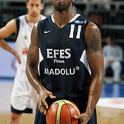 Efes Pilsen's Bootsy THORNTON during their Turkish Basketball Legague Play-Off semi final first match Fenerbahce between Efes Pilsen at the Sinan Erdem Arena in Istanbul Turkey on Tuesday 24 May 2011. Photo by TURKPIX