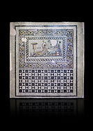 Roman mosaics. The Acratos & Eljprocvne Mosaic from The House of Maenad Zeugma.  2nd - 3rd century AD. Zeugma Mosaic Museum, Gaziantep, Turkey.   Against a black background. .<br /> <br /> If you prefer to buy from our ALAMY PHOTO LIBRARY  Collection visit : https://www.alamy.com/portfolio/paul-williams-funkystock/roman-mosaic.html - Type -   Zeugma   - into the LOWER SEARCH WITHIN GALLERY box. Refine search by adding background colour, place, museum etc<br /> <br /> Visit our ROMAN MOSAIC PHOTO COLLECTIONS for more photos to download  as wall art prints https://funkystock.photoshelter.com/gallery-collection/Roman-Mosaics-Art-Pictures-Images/C0000LcfNel7FpLI
