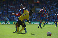 Idrissa Gueye of Aston Villa battles with Jason Puncheon of Crystal Palace. Barclays Premier league match, Crystal Palace v Aston Villa at Selhurst Park in London on Saturday 22nd August 2015.<br /> pic by John Patrick Fletcher, Andrew Orchard sports photography.