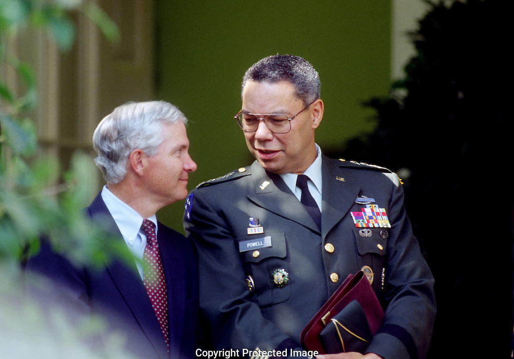 A 29.4 MG IMAGE OF:..Colin Powell with Gates head of CIA..Photo by Dennis Brack