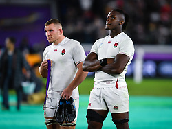 England's Maro Itoje and Sam Underhill after their 32-12 defeat in the 2019 Rugby World Cup final match at Yokohama Stadium.