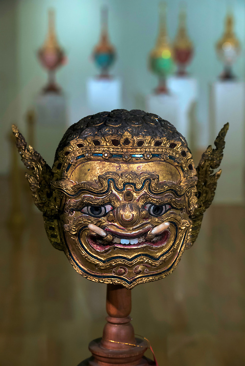 Khon mask exhibition of rare and valuable masks, the Queen's Gallery, Bangkok. The Khon Masked Dance Drama in Thailand, is a performing art that combines musical, vocal, literary, dance, ritual and handicraft elements. Khon performances – which involve graceful dance movements, instrumental and vocal renditions and glittering costumes – depict the glory of Rama, the hero and incarnation of the god Vishnu, who brings order and justice to the world. The many episodes depict Rama's life, including his journey in the forest, his army of monkeys, and his fights with the army of Thosakan, king of the giants. On one level, Khon represents high art cultivated by the Siamese/Thai courts over centuries, while at another level, as a dramatic performance, it can be interpreted and enjoyed by spectators from different social backgrounds. Khon has a strong didactic function, reinforcing respect for those of a higher age and status, mutual dependence between leaders and followers, the honour of rulers and the triumph of good over evil. Traditionally, Khon was transmitted in the royal or princely courts, and in dance masters' households. Today, however, transmission occurs mostly in educational institutions, while still adhering largely to traditional methods. Concerted efforts are made to ensure the continuity of the practice, including through the establishment of training and performance clubs that help reach out to young people.  UNESCO