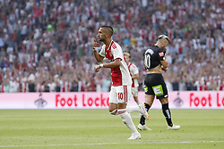 (L-R) Hakim Ziyech of Ajax, Peter Zulj of Sturm Graz during the UEFA Champions League second round qualifying first leg match between Ajax Amsterdam and Sturm Graz at the Johan Cruijff Arena on July 25, 2018 in Amsterdam, The Netherlands