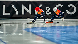 Selma Poutsma of Netherlands, Suzanne Schulting of Netherlands in action on 1000 meter final during ISU World Short Track speed skating Championships on March 07, 2021 in Dordrecht