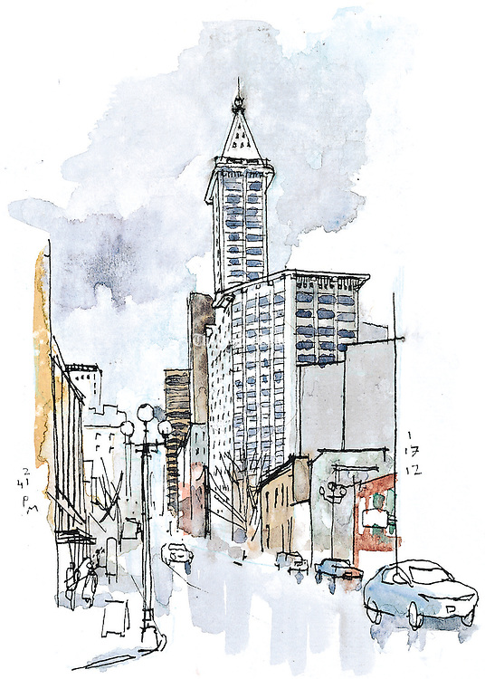 The Smith Tower in downtown Seattle. Seattle's first skyscraper was built in 1914.<br /> <br /> Gabriel Campanario / The Seattle Times