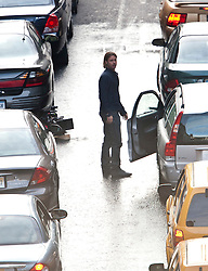 """Brad Pitt on the set of the movie """"World War Z"""" being shot in the city centre of Glasgow. The film, which is set in Philadelphia, is being shot in various parts of the Glasgow, transforming it to shoot the post apocalyptic zombie film."""