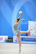 Rizatdinova Anna during qualifying at hoop in Pesaro World Cup at Adriatic Arena on April 26, 2013. Anna was born July 16, 1993 in Simferopol, she is a Ukrainian individual rhythmic gymnast.