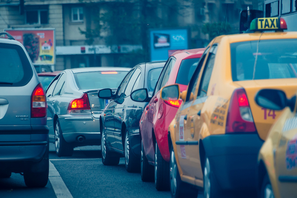 BUCHAREST, ROMANIA - October 2, 2012: Cars during rush hour in downtown Bucharest