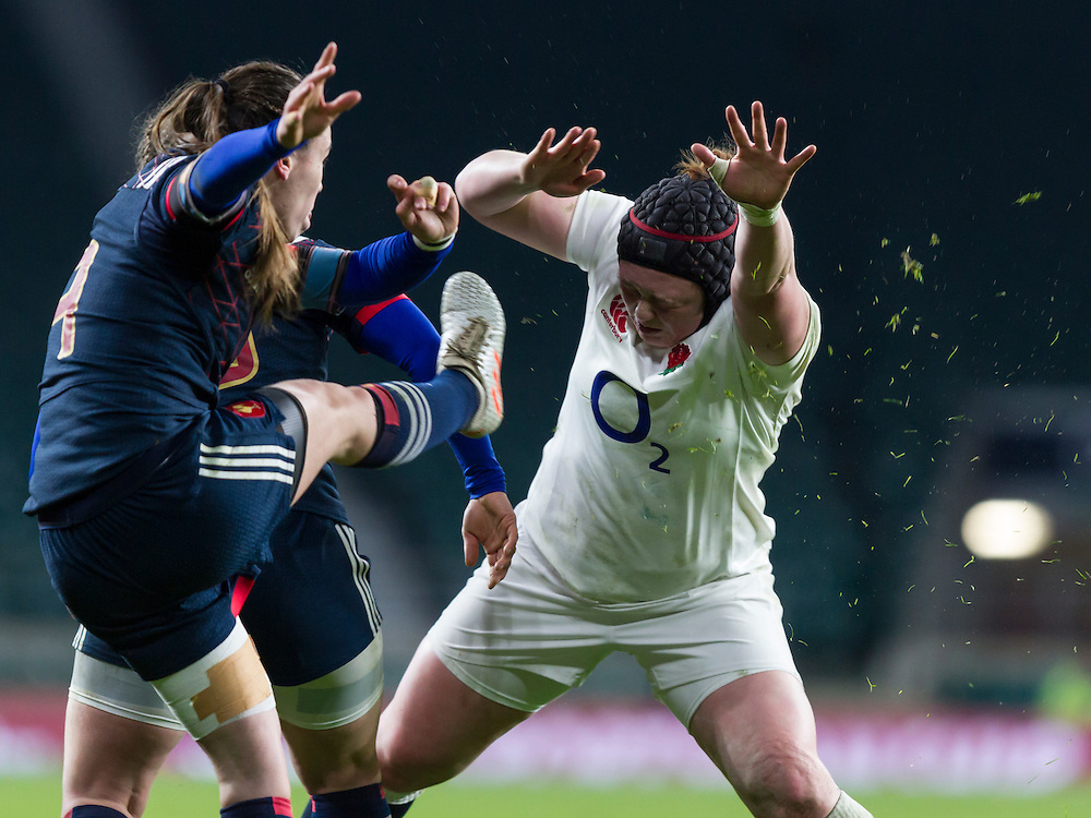 Laura Keates in action, England Women v France Women in a 6 Nations match at Twickenham Stadium, London, England, on 4th February 2017 Final Score 26-13.