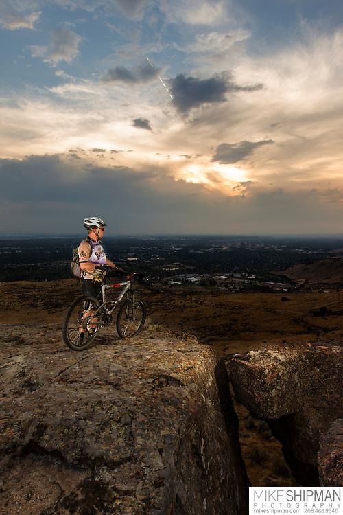 Mountain biker, Table Rock, Boise, Idaho