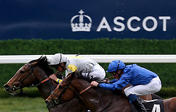 Zaaki ridden by jockey Frankie Dettori wins the Ascot Shop Paradise Stakes (A Queen Anne Stakes Trial) during Royal Ascot Trials Day at Ascot Racecourse.