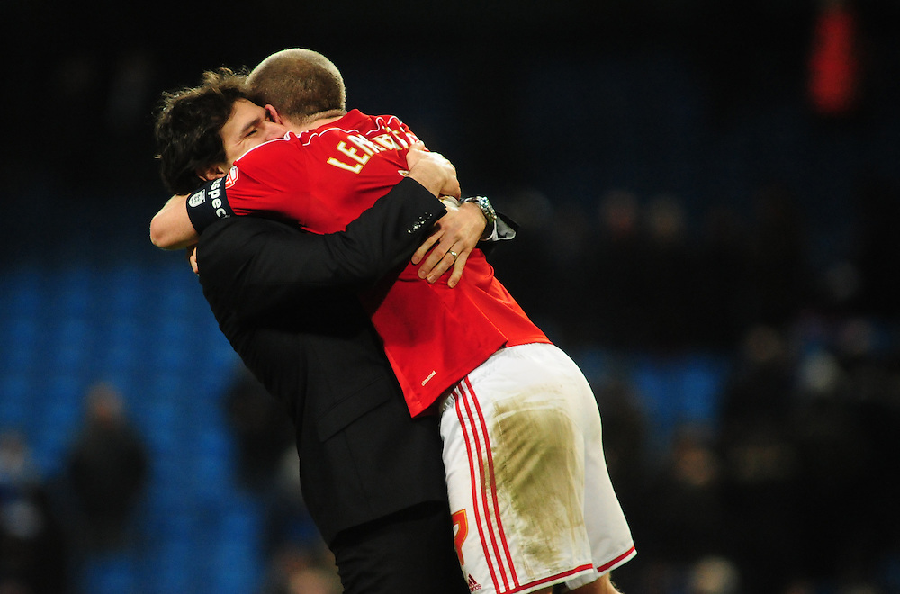 Middlesbrough manager Aitor Karanka , left, and Middlesbrough's Grant Leadbitter celebrate the win over Manchester City in the FA Cup<br /> <br /> Photographer Chris Vaughan/CameraSport<br /> <br /> Football - The FA Cup Fourth Round - Manchester City v Middlesbrough - Saturday 24th January 2015 - Etihad Stadium - Manchester<br /> <br /> © CameraSport - 43 Linden Ave. Countesthorpe. Leicester. England. LE8 5PG - Tel: +44 (0) 116 277 4147 - admin@camerasport.com - www.camerasport.com