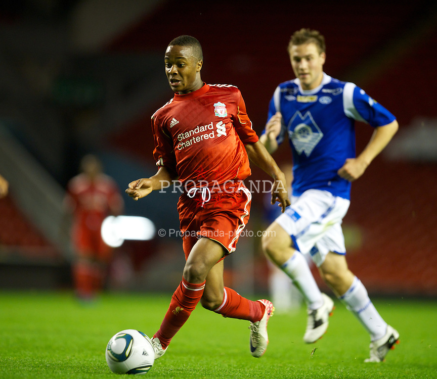 LIVERPOOL, ENGLAND - Thursday, September 29, 2011: Liverpool's Raheem Sterling in action against Molde FK during the NextGen Series Group 2 match at Anfield. (Pic by David Rawcliffe/Propaganda)