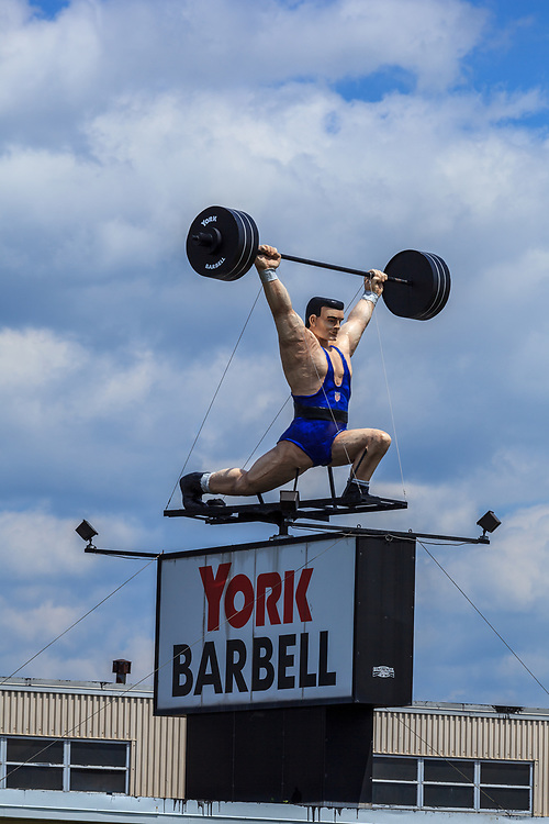The York Barbell Man sign in York County, PA