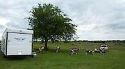 Dirt bike riders camping at Crossbar Ranch ORV area near Davis, Oklahoma