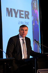 Myer CEO, Bernie Brookes at the Myer 07/08 Half Year Results presentation, held at Zinc at Federation Square in Melbourne