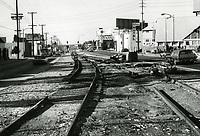1972 Removing railroad tracks from Santa Monica Blvd & La Cienega Blvd.