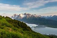 Overlooking Spencer Glacier in Chugach National Forest in Southcentral Alaska. Summer. Evening.