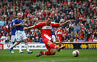 Photo: Andrew Unwin.<br />Middlesbrough v Everton. The Barclays Premiership. 14/10/2006.<br />Middlesbrough's Mark Viduka scores his team's second goal.