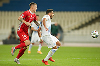 ATHENS, GREECE - OCTOBER 11: Penalty kick won by Vangelis Pavlidisof Greece from Veaceslav Posmacof Moldova during the UEFA Nations League group stage match between Greece and Moldova at OACA Spyros Louis on October 11, 2020 in Athens, Greece. (Photo by MB Media)