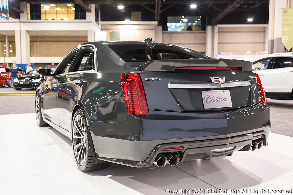 CHARLOTTE, NC, USA - November 11, 2015: Cadillac CTS-V on display during the 2015 Charlotte International Auto Show at the Charlotte Convention Center in downtown Charlotte.